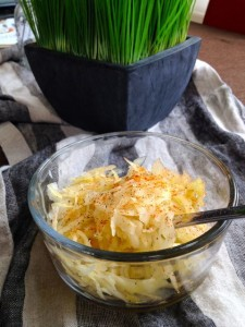 My kraut topped with sweet Hungarian paprika and pepper.  YUM! YUM!